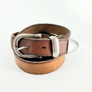 "Genuine Brown Cowhide Leather Belt, Large 36"" -40"""
